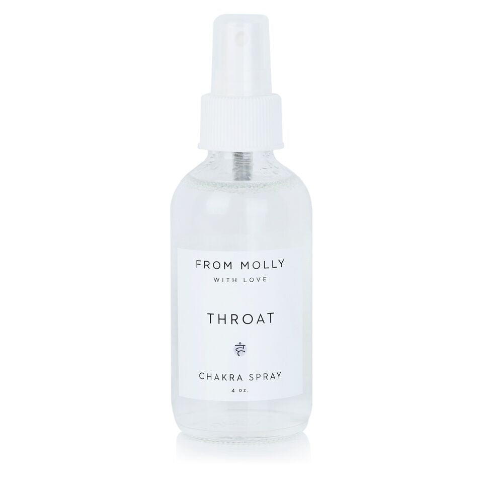 From Molly With Love Throat Chakra Spray. For use while meditating, doing yoga, or as a home or body fragrance. Bright and Fresh. Slightly minty. Lavender, Peppermint, Cypress.