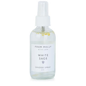 From Molly With Love White Sage Smudge Spray. Delicious rose and lemon essential oils increase the energy of sage, known for its incredible psychic cleansing clearing properties.