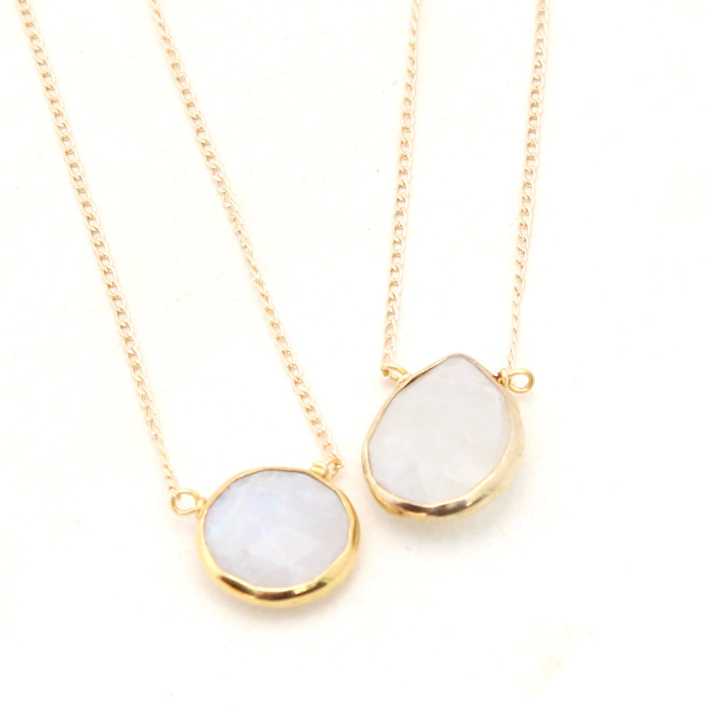 Moonstone Necklace - Short Gold