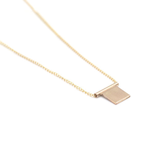 Favor Jewelry Cubic necklace.  Gold necklace with minimal, geometric square pendant.