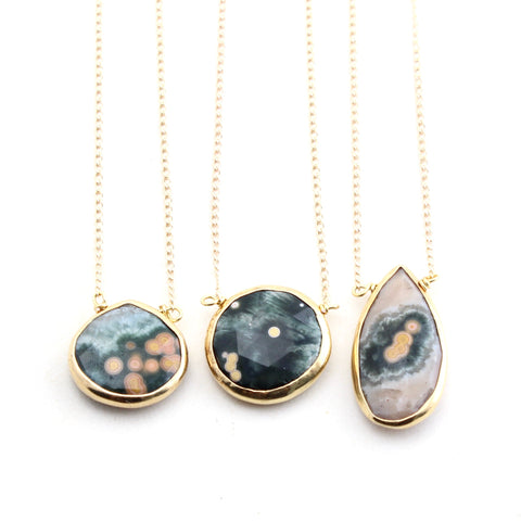 Ocean Jasper Gold Edge Necklace