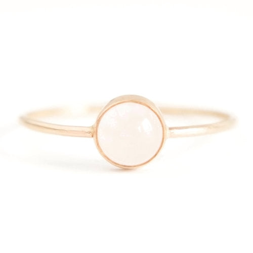 Favor Jewelry Gumdrop Rose Quartz Ring - delicate gold ring with rose quartz crystal