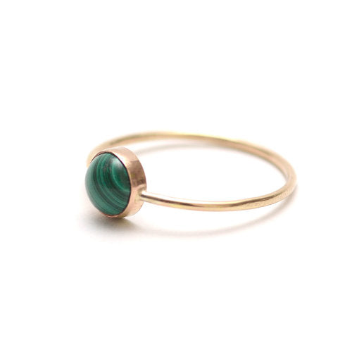 Favor Jewelry Gumdrop Malachite Ring - delicate gold ring with green malachite stone