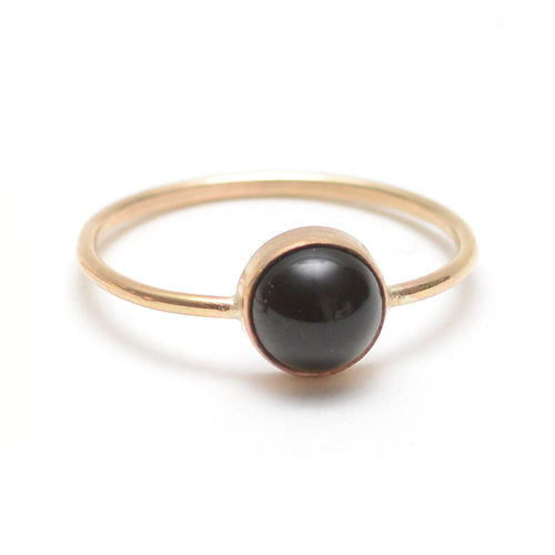 Favor Jewelry Gumdrop Black Onyx Ring - delicate gold ring with black onyx crystal