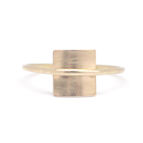 Favor Jewelry Warp Square Ring.  Geometric, square, minimal gold ring with
