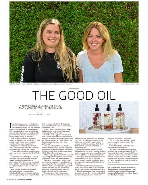 SKINNED Sunshine Coast Daily Press Media Release 2019 Australian Vegan Natural Skincare The Good Oil