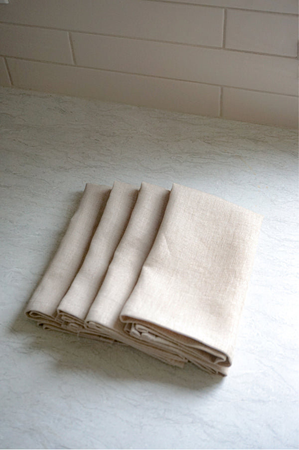 Serviettes de table en lin écologique Beige