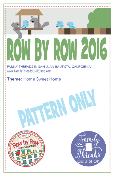 Row by Row 2016 Pattern