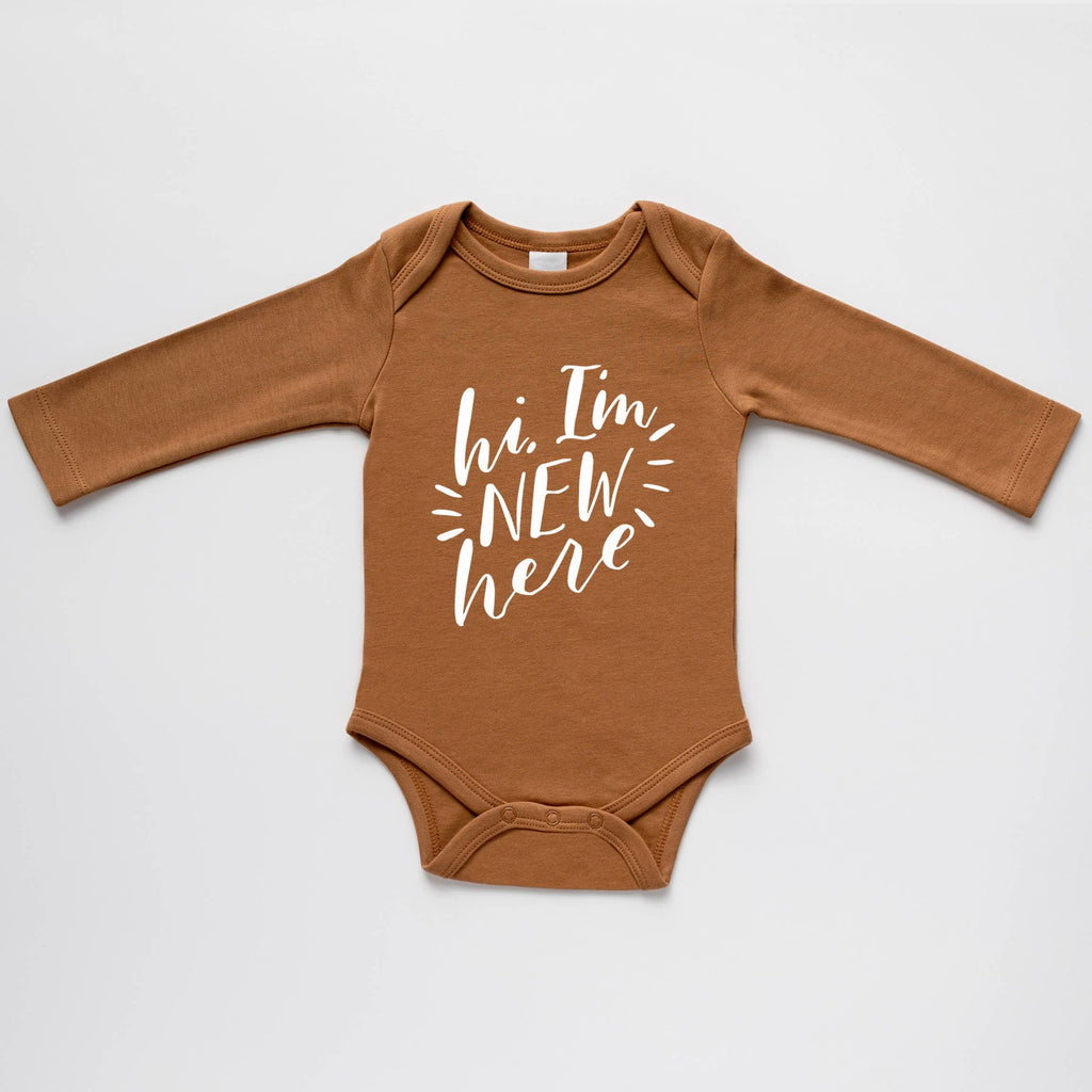 The Oyster's Pearl - Camel Organic Hi I'm New Here Bodysuit