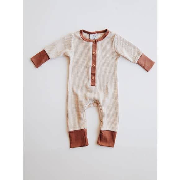 Orcas Lucile- Waffle Romper - Cream - (Pre-order- Will ship in 10-14 days)