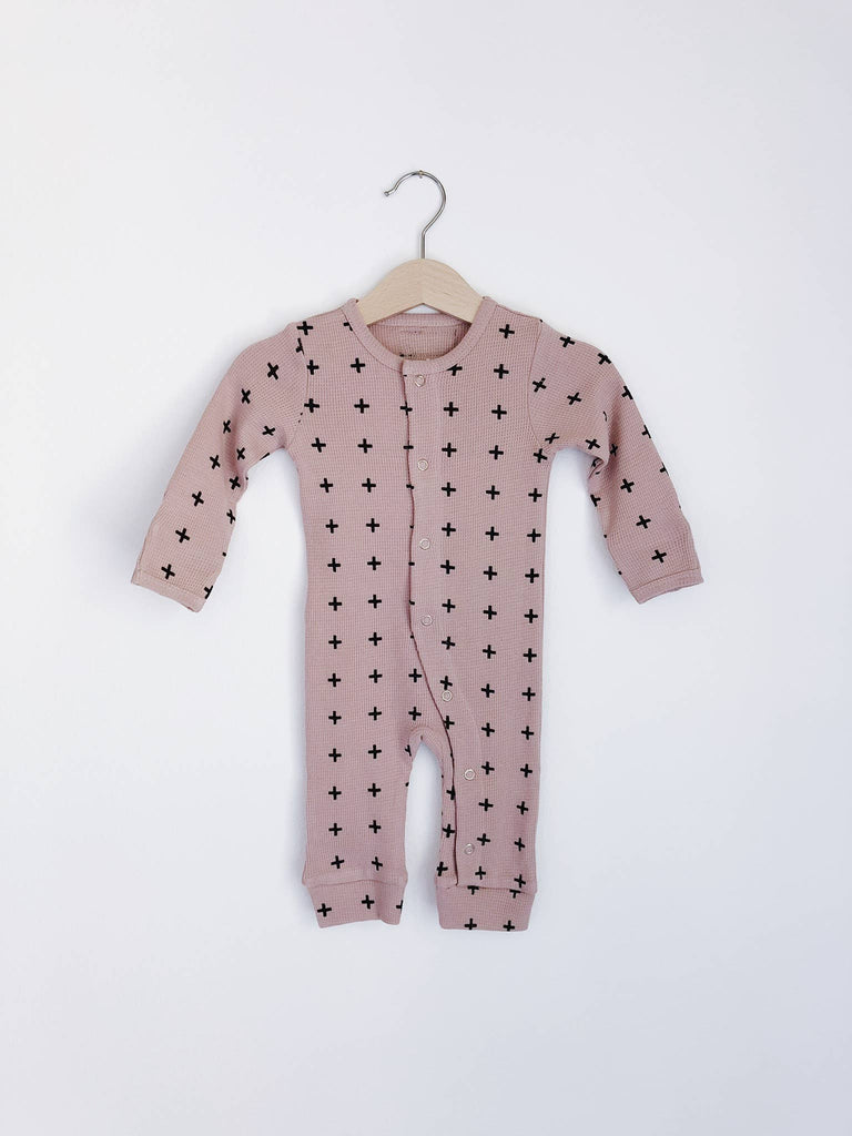 Modern Burlap - Organic Thermal Coverall | Pink + Black Swiss Cross