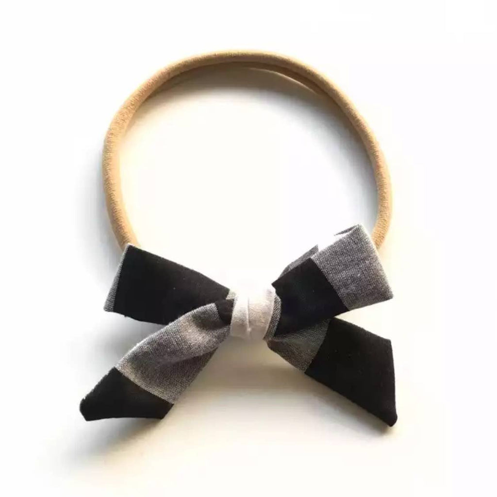 Tiny Trendsetter - Tiny Black Plaid Bow Headband