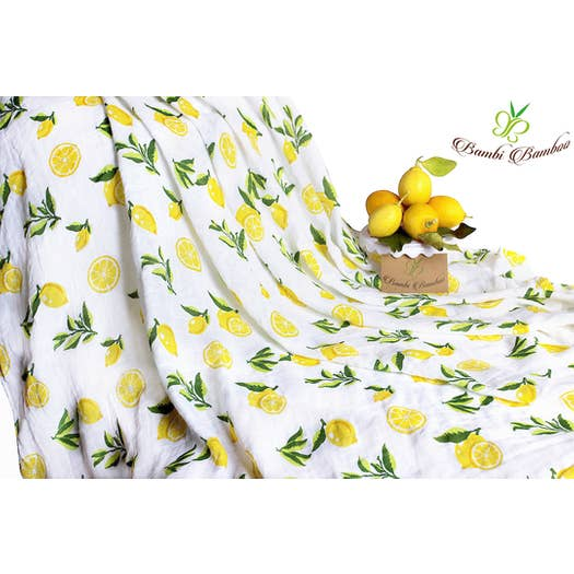 Bambi Bamboo - Bamboo Muslin Lemon Strawberry Swaddle Blanket