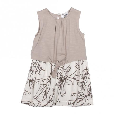 Young and Free Apparel- Grey Spring Girls Flower Dress