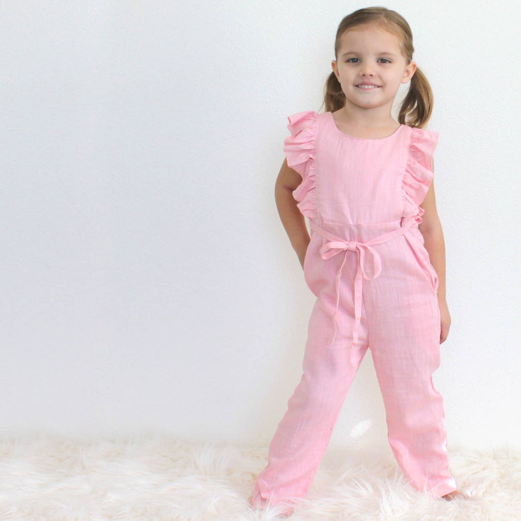Carken Design - Light Pink Linen Ruffle Romper with Pants