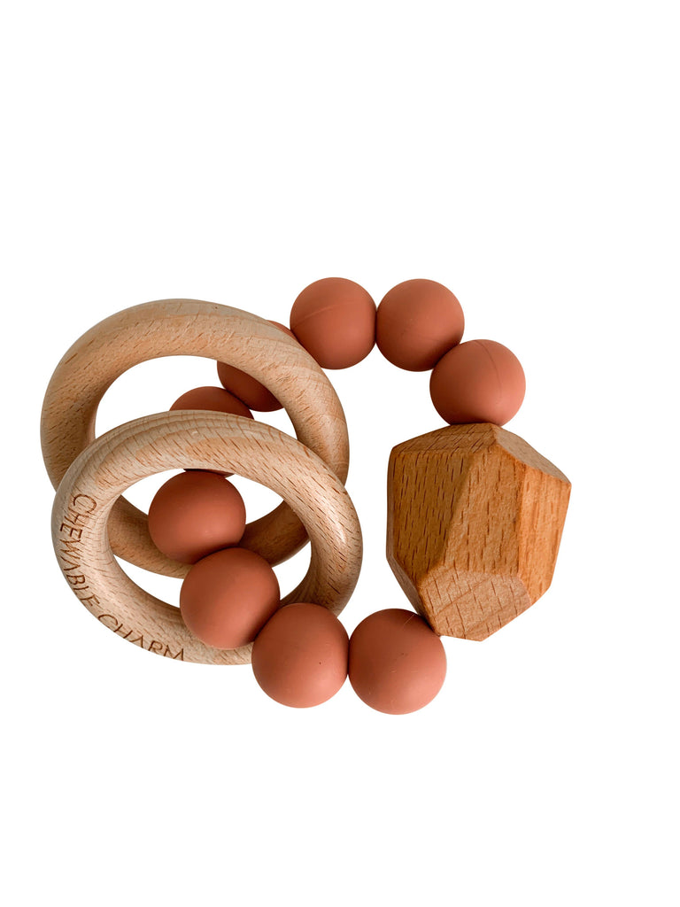 Chewable Charm - Hayes Silicone + Wood Teether - Zion Sand