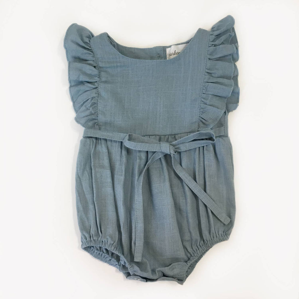 Carken Design - Medium Blue Linen Ruffle Romper