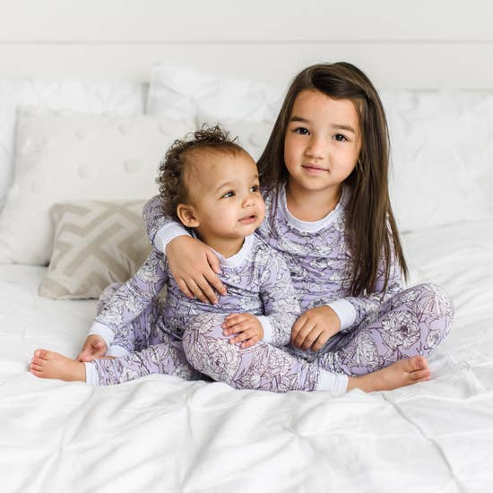 Little Sleepies- Peonies Two-Piece Bamboo Pajama Set