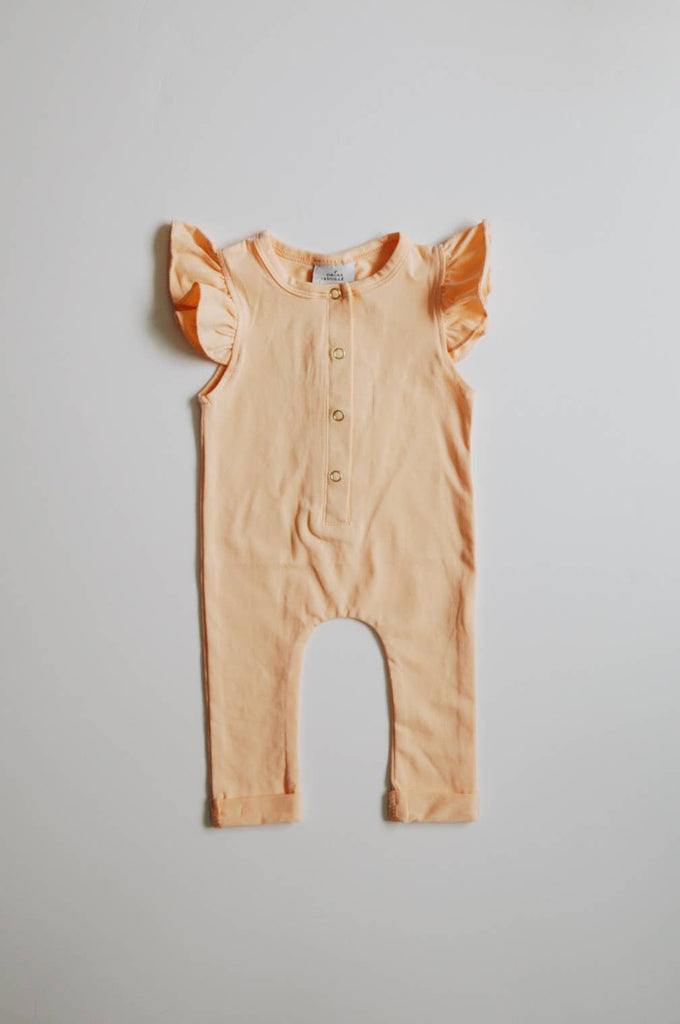 Flutter Sleeve Henley Romper - // Peach (PRE-ORDER: Will ship in 10 business days)
