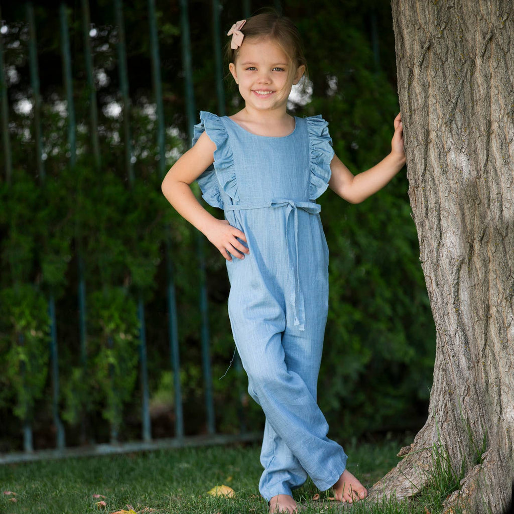 Carken Design - Light Blue Linen Ruffle Romper with Pants