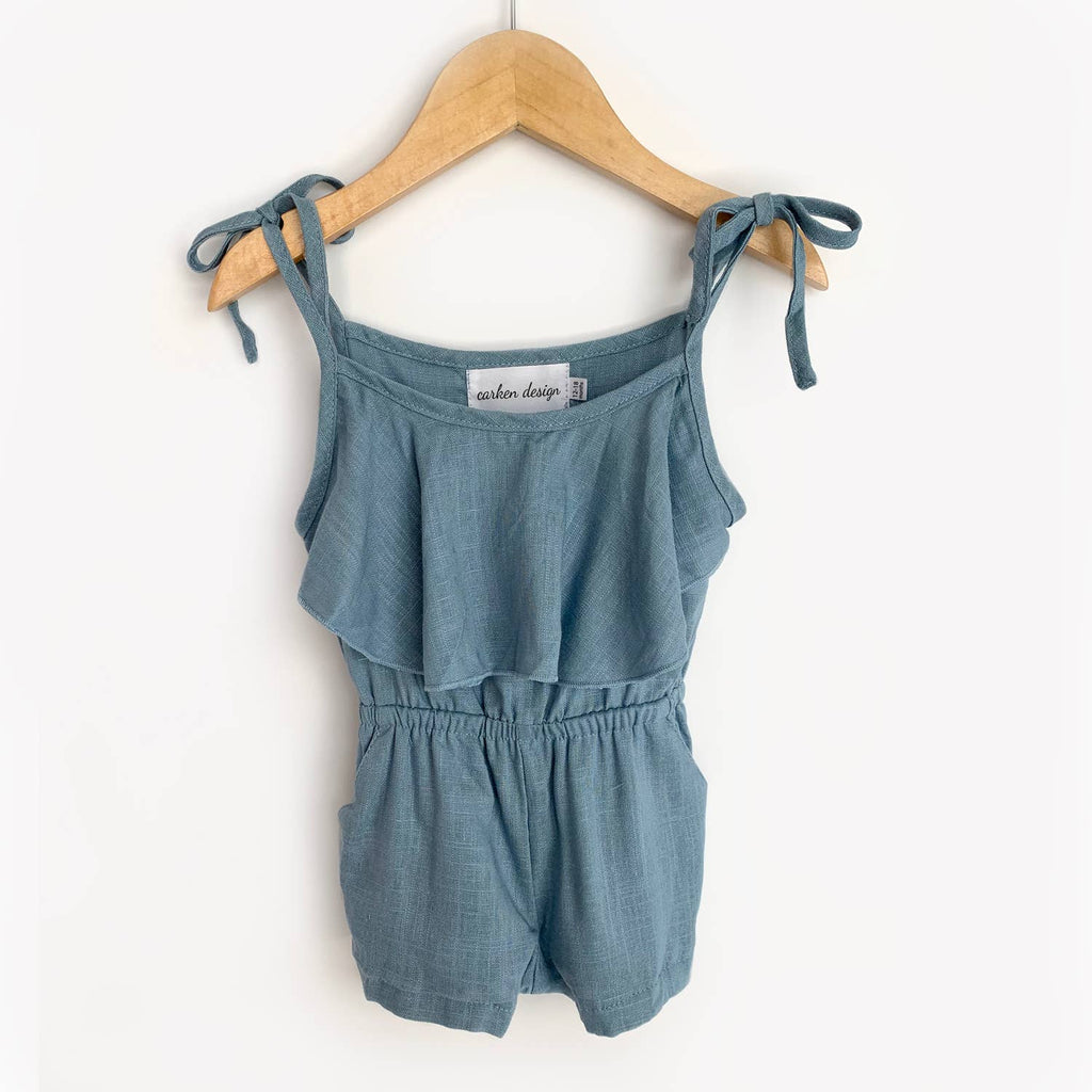 Carken Design - Medium Blue Linen Tie Romper