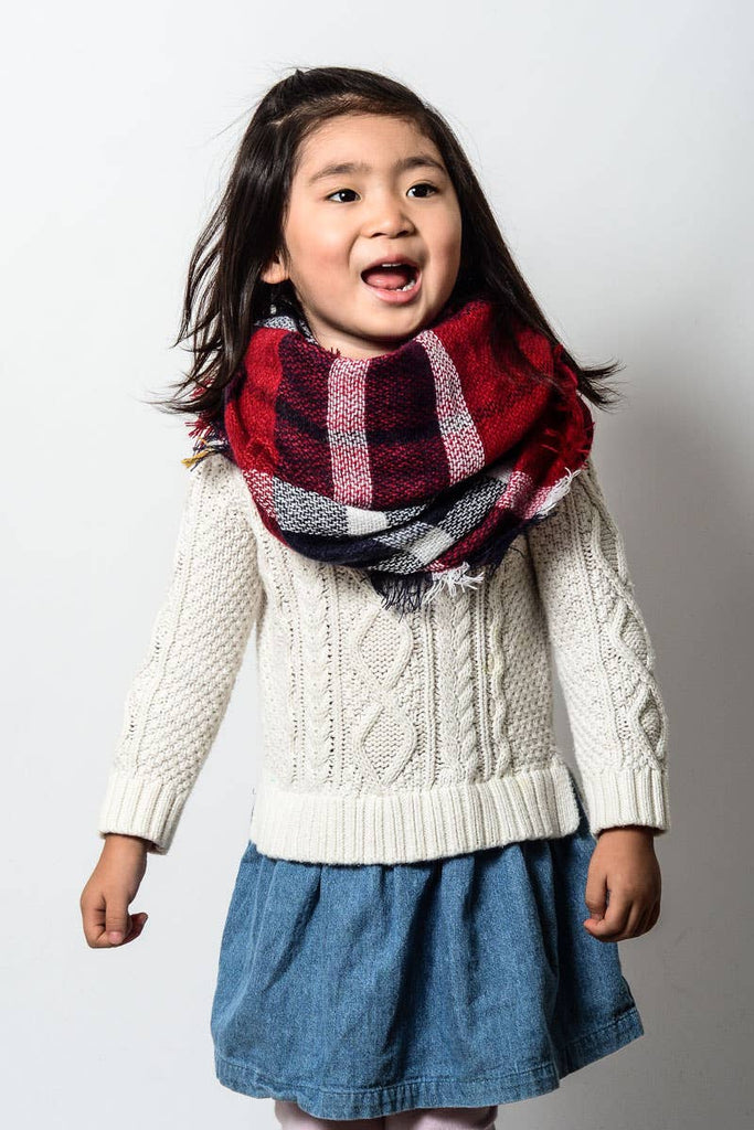 Leto Accessories - Kids - Classic Plaid Blanket Scarf