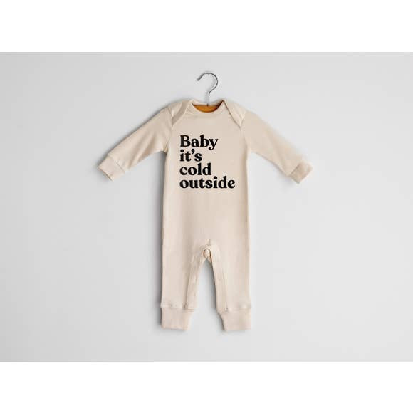 The Oyster's Pearl - Baby It's Cold Outside Organic Baby Romper in Natural