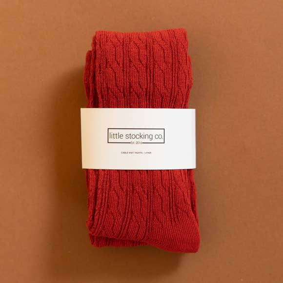 Little Stocking Co. -  Spice Red Cable Knit Tights