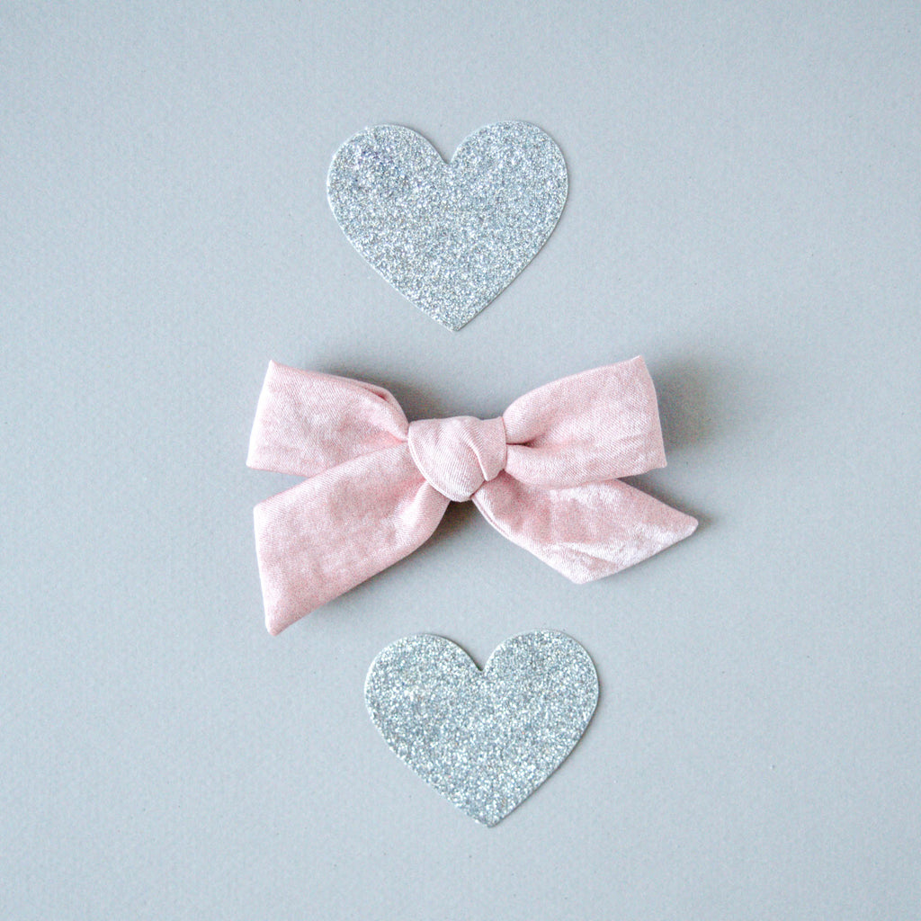 Baby Ellie's Bows - Crushed Satin in Rose - The Lizzie Bow
