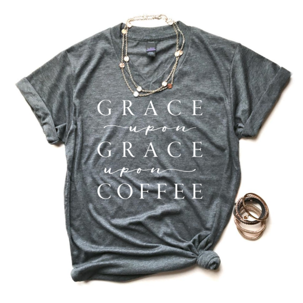 A Quiver Full - Grace Upon Grace Unisex Grey Vneck - Coffee