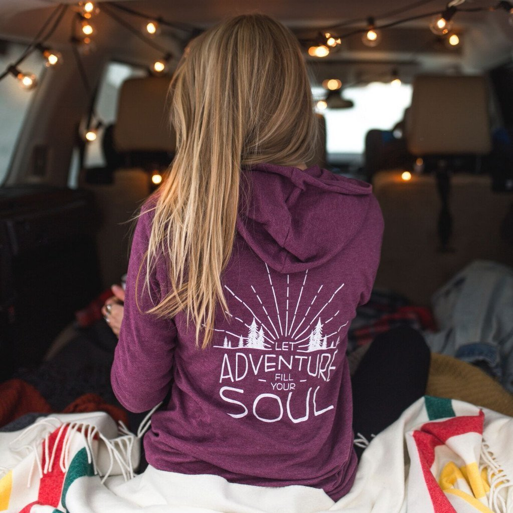 The Montana Scene - Let Adventure Fill Your Soul Lightweight Zip Hoodie U Maroon