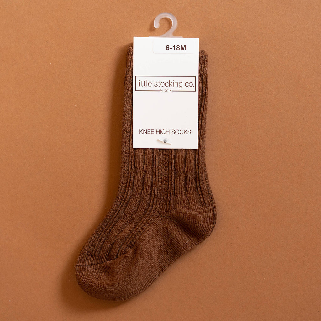 Little Stocking Co. - Chocolate Brown Cable Knit Knee High Socks