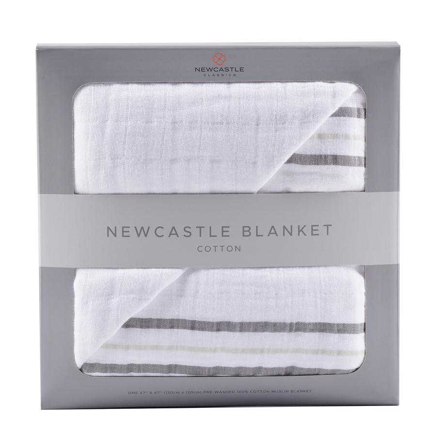 Newcastle Classics - Teddy Bear and Grey Stripe Newcastle Blanket
