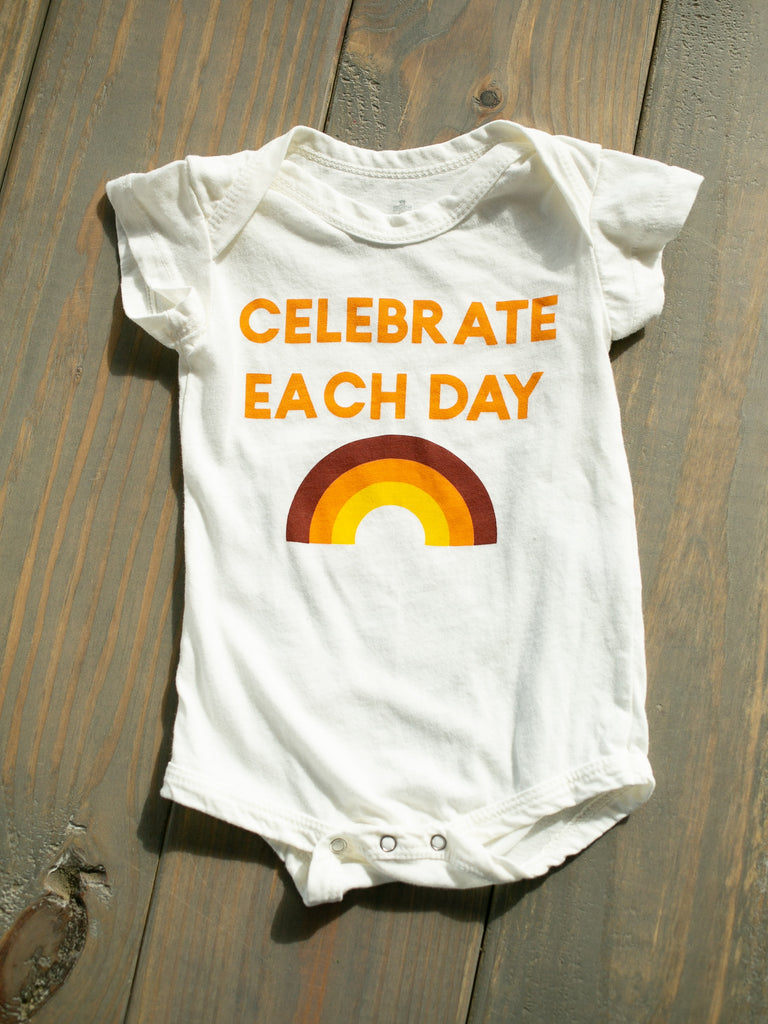Modern Burlap - Made in USA | ORGANIC ONESIE | CELEBRATE EACH DAY