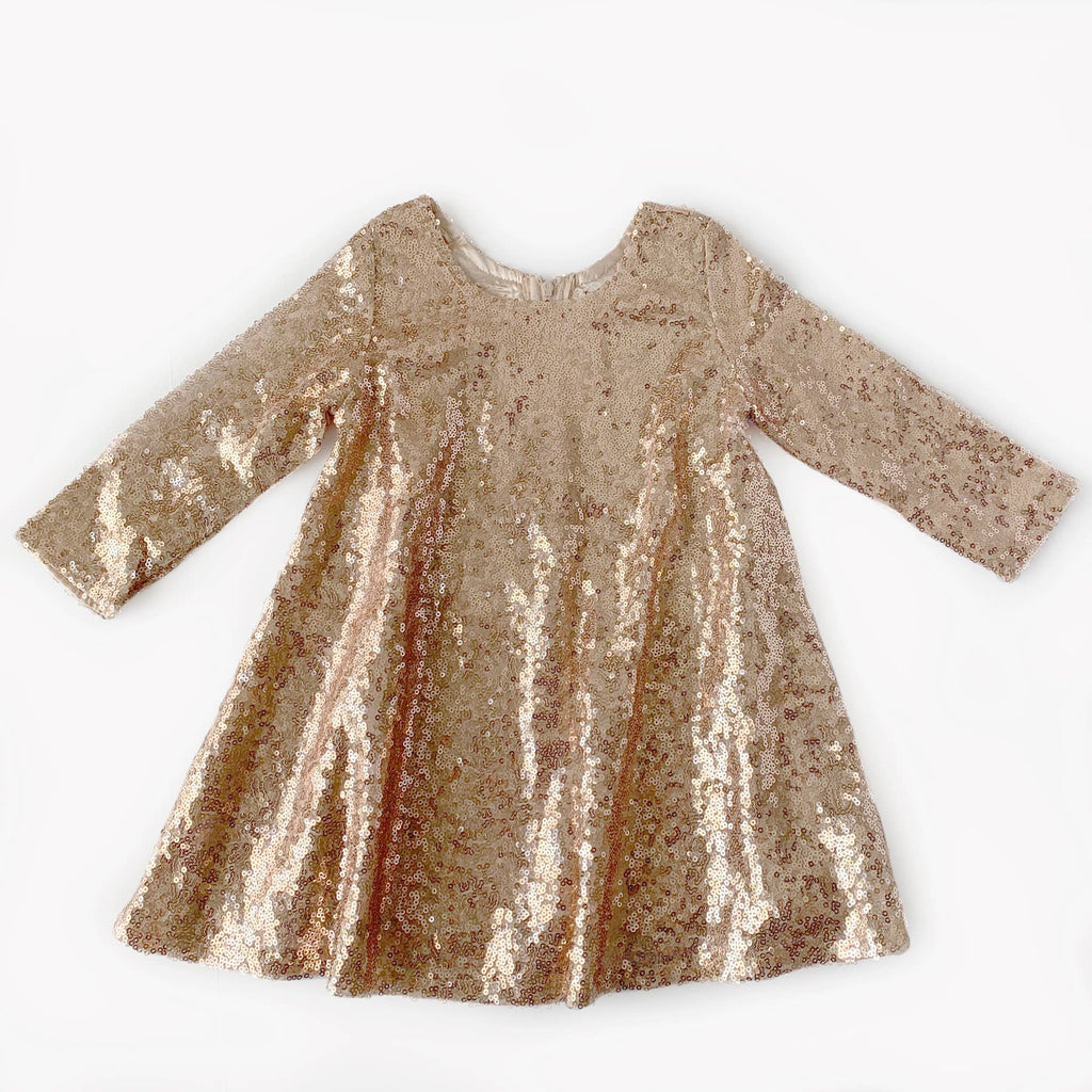 Carken Design - Rose Gold Long Sleeve Sequin Dress
