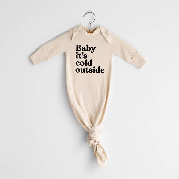 Oyster Pearl- Baby It's Cold Outside Organic Knotted Baby Gown