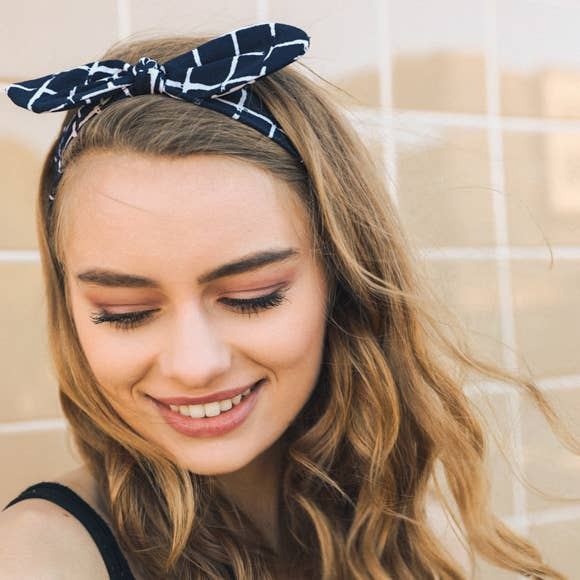 Leto Accessories - Grid Headband with Wired Bow- Navy