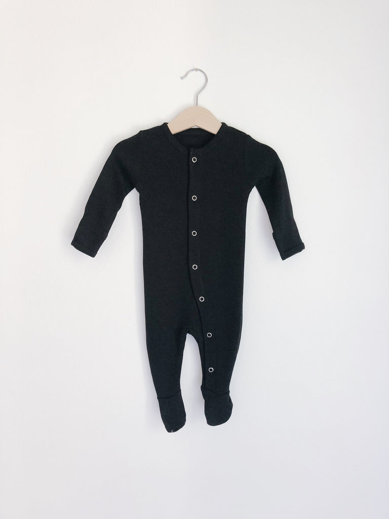 Modern Burlap - Solid Color Organic Button Footie | Black-18-24 Months (27-30 lbs)