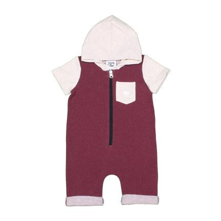 Young and Free Apparel - Short Zipper Romper - Burgundy