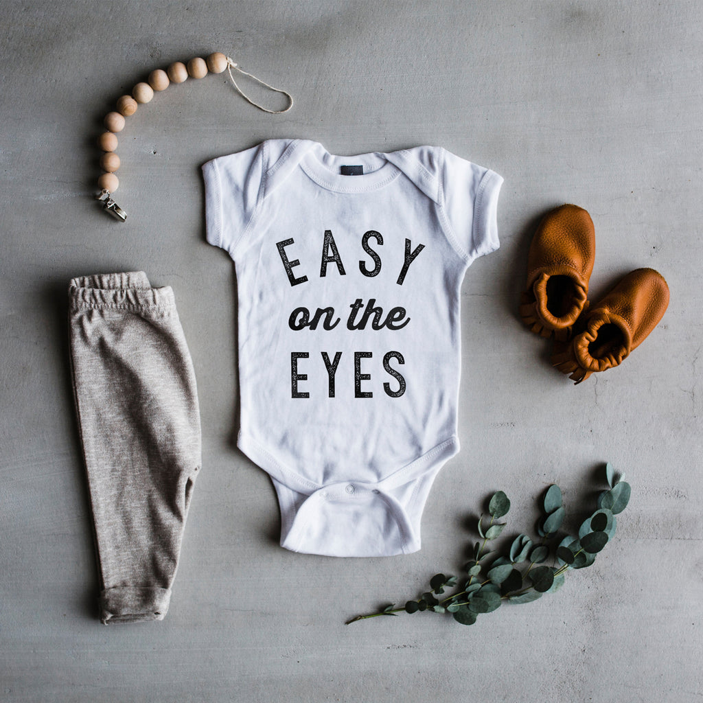The Oyster's Pearl - White Long Sleeve Easy On The Eyes Baby Bodysuit