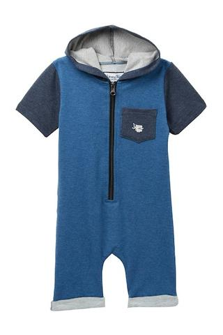Young and Free Apparel - Zipper Short Romper Blue