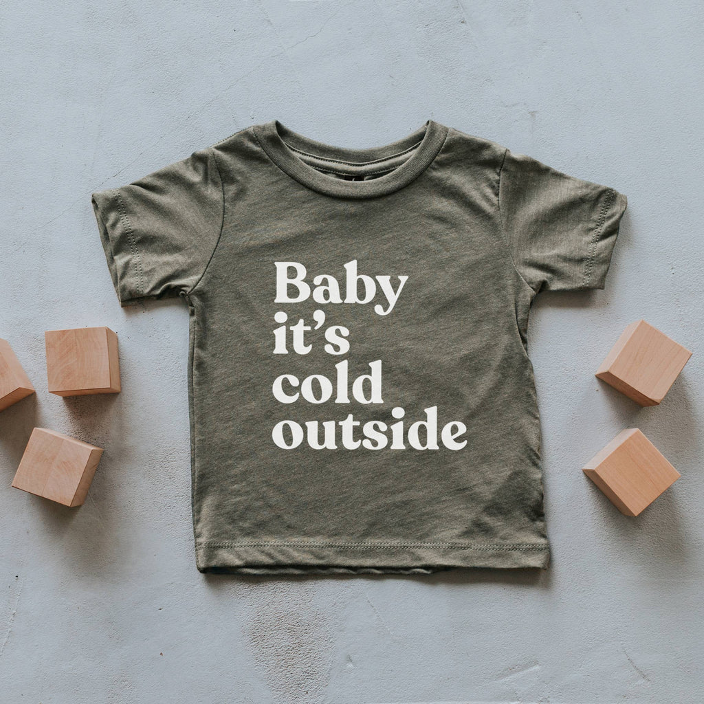 The Oyster's Pearl - Olive Baby It's Cold Outside Kids Tee
