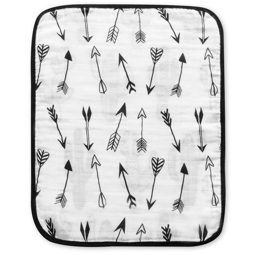 Modern Burlap- 4 Layer Organic Cotton Muslin Burp Cloth - REVERSIBLE Cactus + Arrows