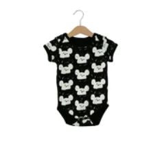 Modern Burlap  - Organic Short Sleeve Bodysuit - Prints | White on Black Modern Mouse
