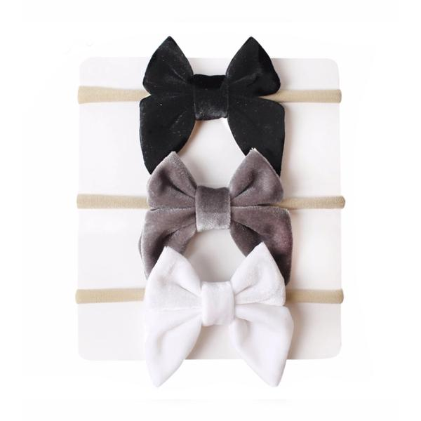 Tiny Trendsetter - Lila Bow Headband 3 Piece Set