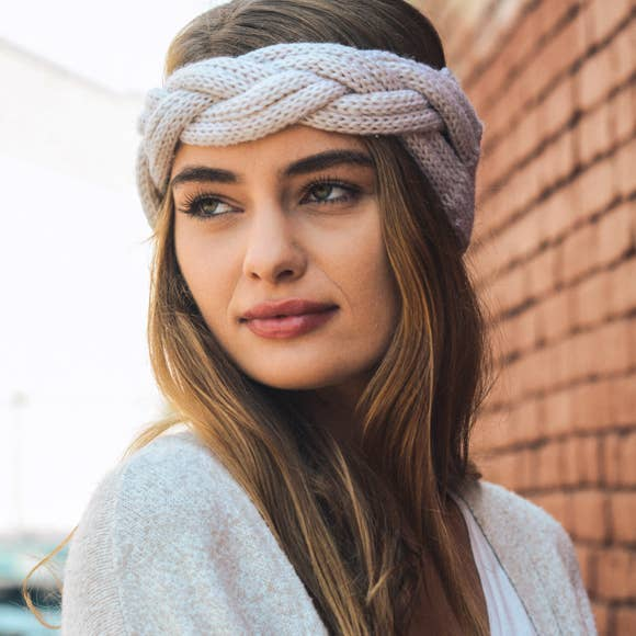 Leto Accessories - Braid Front Knit Crochet Headband