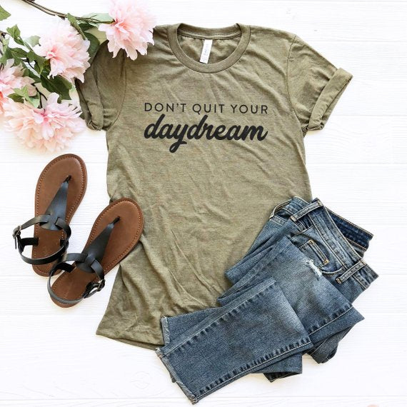 Overtype - Don't Quit Your Daydream Crew Neck Shirt - Olive Green