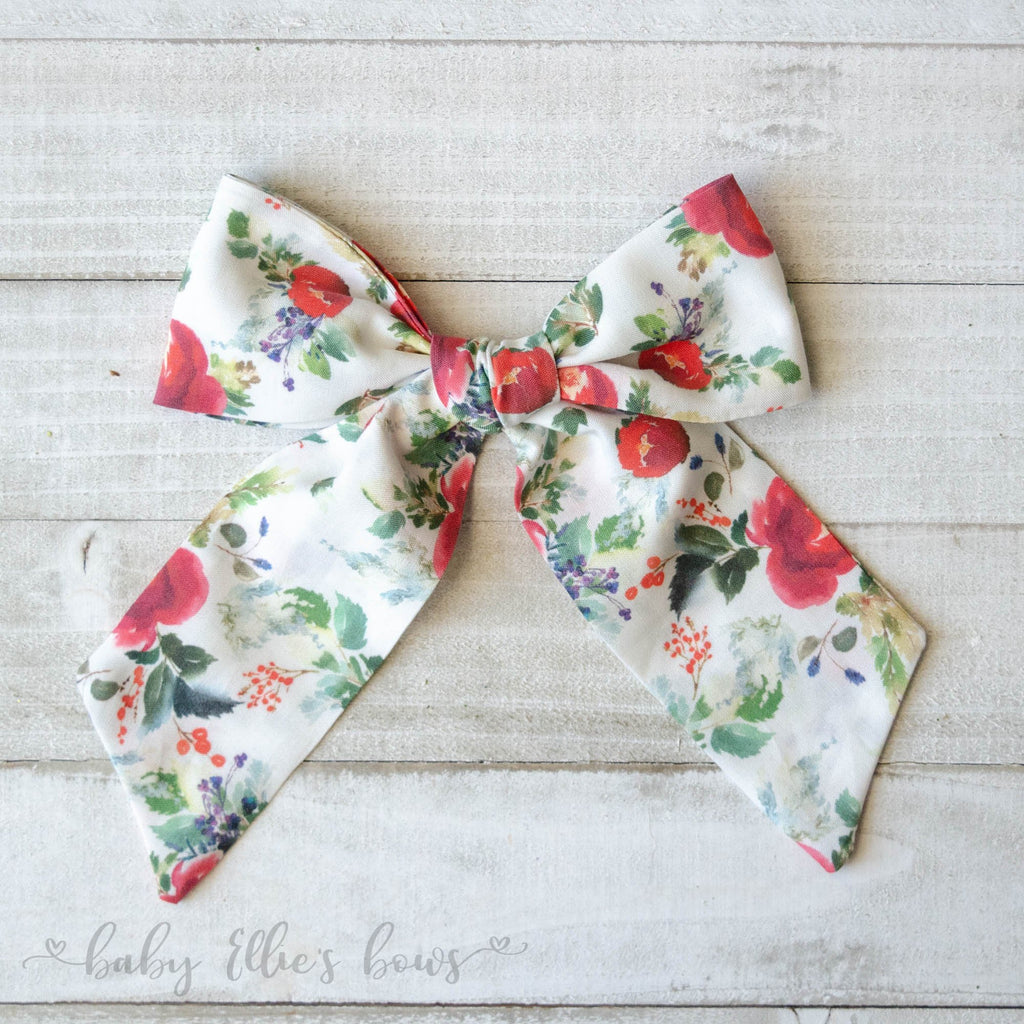 Baby Ellie's Bows - Boho Winter Floral in Cream - The Beth Bow
