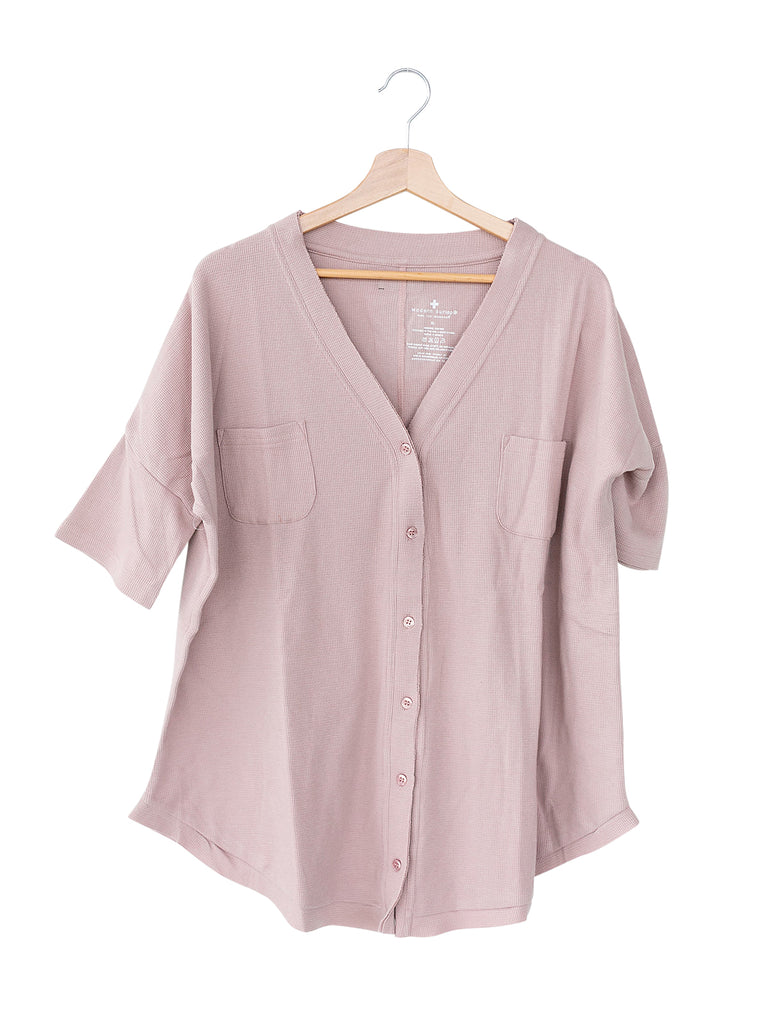 Modern Burlap - Women's Oversized Thermal Top in Organic Cotton - Mauve