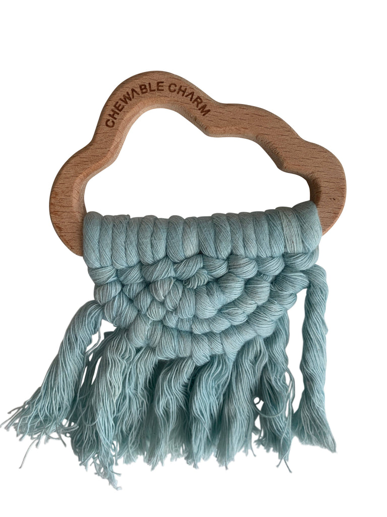 Chewable Charm - Cloud Macrame Teether- Blue